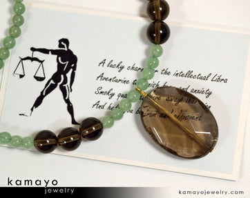 Libra Necklace - Smoky Quartz Pendant And Green Aventurine Beads