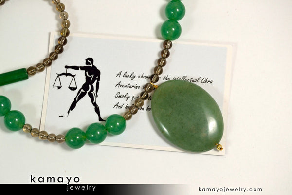 Libra necklace large green aventurine pendant and smoky quartz libra necklace large green aventurine pendant and smoky quartz beads aloadofball Image collections