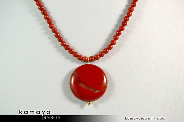 RED JASPER NECKLACE - Coin Red Jasper Pendant and Round Beads