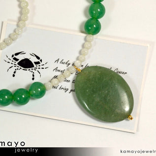 CANCER NECKLACE - Large Green Aventurine Pendant and Moonstone Beads