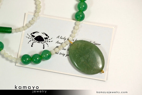 Cancer necklace large green aventurine pendant and moonstone beads cancer necklace large green aventurine pendant and moonstone beads aloadofball Image collections