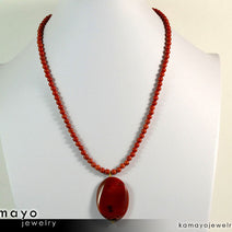 "RED JASPER NECKLACE <span class=""subtitle"">- Large Oval Red Jasper Pendant and Round Beads </span><span class=""findings"">- 14K Gold Filled Findings </span><span class=""length"">- 20 Inches</span>"
