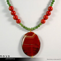 ARIES NECKLACE - Large Oval Red Jasper Pendant and Green Jasper Beads