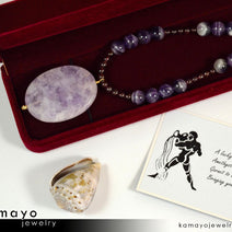 AQUARIUS NECKLACE - Large Amethyst Pendant and Red Garnet Beads