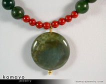 "ARIES NECKLACE <span class=""subtitle"">- Coin Green Jasper Pendant and Red Jasper Beads </span><span class=""findings"">- 14K Gold Filled Findings </span><span class=""length"">- 18 Inches</span>"