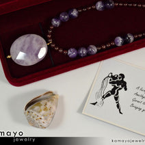 Aquarius Necklace - Amethyst Pendant And Red Garnet Beads