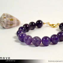 CHEVRON AMETHYST BRACELET - Large Round Natural Banded Amethyst Beads