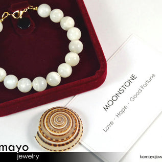 WHITE MOONSTONE BRACELET - Round Real Moonstone Beads