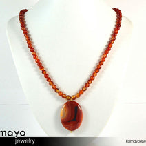 RED AGATE NECKLACE - Natural Oval Quartz Agate Pendant and Red Agate Beads