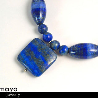 LAPIS LAZULI BRACELET - Blue Square Pendant and Large Rice Beads