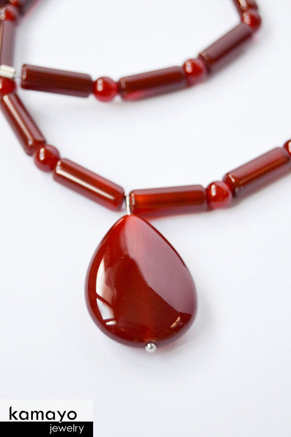 CARNELIAN NECKLACE - Teardrop Pendant
