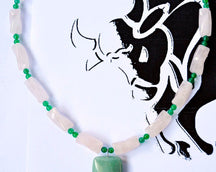 "TAURUS NECKLACE <span class=""subtitle"">- Green Aventurine Pendant and Rose Quartz Beads </span><span class=""findings"">- Stainless Steel Findings </span><span class=""length"">- 19 Inches </span>"