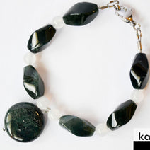 MOSS AGATE BRACELET - Natural Dark Green Pendant and White Chalcedony Accents