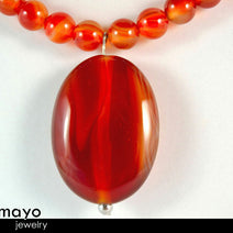 RED AGATE NECKLACE - Natural Oval Pendant and Round Beads