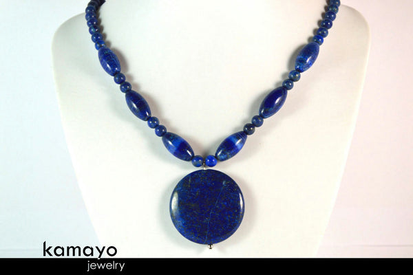 LAPIS LAZULI NECKLACE - Huge Blue Pendant and Large Olive-shaped Beads