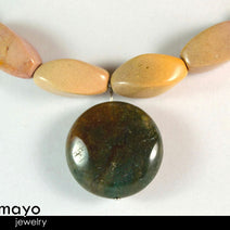 AQUARIUS NECKLACE - Womens' Choker - Moss Agate Pendant and Jasper Beads