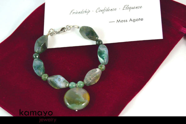 MOSS AGATE BRACELET - Natural Light Green Pendant and Beads