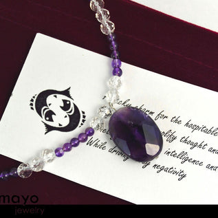 Pisces Charm Necklace - Amethyst Pendant And Clear Quartz Beads