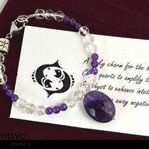 PISCES CHARM BRACELET - Purple Amethyst Pendant and Clear Quartz Beads