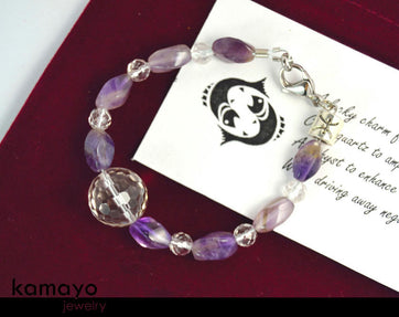 Pisces Bracelet - Clear Quartz And Amethyst Beads
