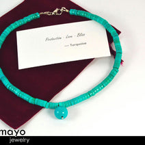 TURQUOISE NECKLACE - Womens' Beaded Choker - Round Pendant and Disc Stone Beads