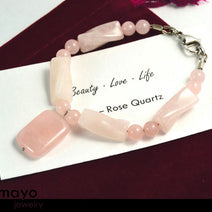ROSE QUARTZ BRACELET - Natural Pink Pendant and Polished Genuine Beads