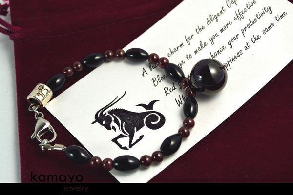 CAPRICORN BRACELET - Red Garnet Pendant and Black Onyx Beads