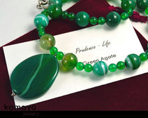"GREEN AGATE NECKLACE <span class=""subtitle"">- Natural Oval Pendant and Round Beads </span><span class=""findings"">- Stainless Steel Findings </span><span class=""length"">- 18 Inches </span>"