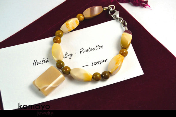 WHITE JASPER BRACELET - Mookaite Jasper Pendant and Brown Ocean Jasper Beads