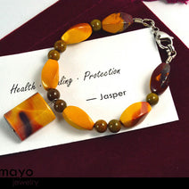 YELLOW JASPER BRACELET - Mookaite Jasper Pendant and Brown Ocean Jasper Beads