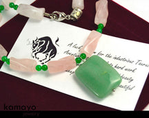 Taurus Necklace - Green Aventurine Pendant And Rose Quartz Beads