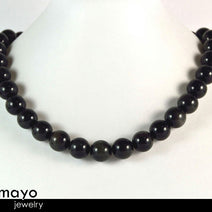 BLACK OBSIDIAN NECKLACE - Big Round Beads