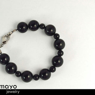 BLACK OBSIDIAN BRACELET - Big Round Beads