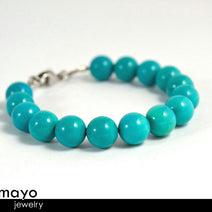 "BLUE TURQUOISE BRACELET <span class=""subtitle subtitle-1"">- Round Beads </span><span class=""subtitle subtitle-2"">- Stainless steel </span><span class=""subtitle subtitle-3"">- 8 Inches</span>"