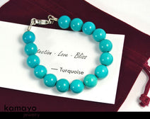 "BLUE TURQUOISE BRACELET <span class=""subtitle"">- Round Beads </span><span class=""findings"">- Stainless Steel Findings </span><span class=""length"">- 8 Inches </span>"