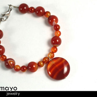 Red Agate Bracelet - Dark Beads With Translucent Bands