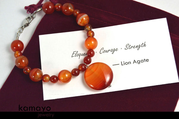 LION AGATE BRACELET - Lion Agate Pendant and Red Agate Beads