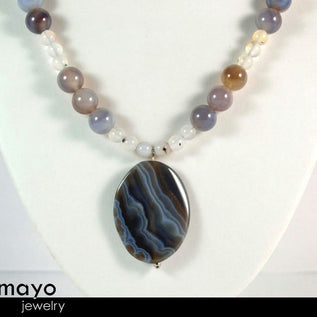 Grey Agate Necklace - Matinee Necklace With Large Oval Pendant