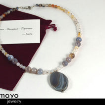 GREY AGATE NECKLACE - Large Oval Pendant and Round Accents