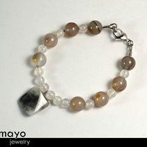 GREY AGATE BRACELET - Square Pendant and Round Beads