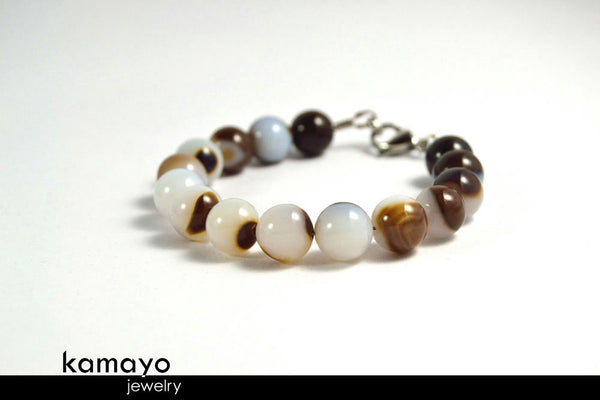 White Agate Bracelet - Round Beads With Dark Brown Bands