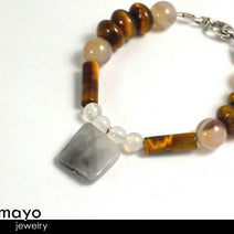 GEMINI BRACELET - Grey Agate Pendant and Tiger Eye Beads