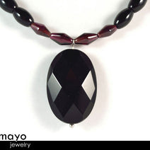 Capricorn Charm Necklace - Faceted Black Onyx Pendant And Red Garnet Beads