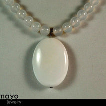 WHITE CHALCEDONY NECKLACE - Large Oval Pendant and Translucent Round Beads