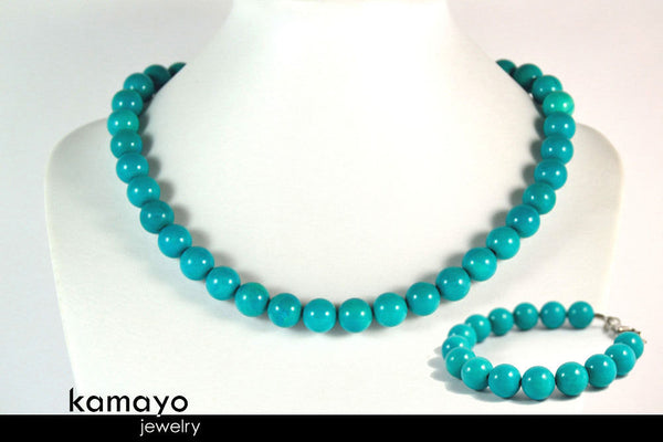 TURQUOISE JEWELRY SET - Womens' Choker Necklace and Bracelet