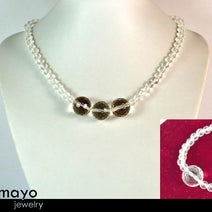 CLEAR QUARTZ JEWELRY SET - Womens' Choker Necklace and White Quartz Bracelet
