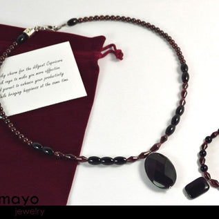 CAPRICORN JEWELRY SET - Princess Necklace and Bracelet with Black Onyx Pendants and Red Garnet Beads