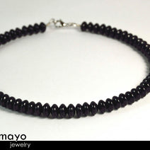 BLACK ONYX NECKLACE - Roundel Beads - Men's Choker or Princess Necklace for Women