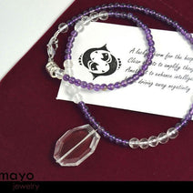 Pisces Necklace - Clear Quartz Pendant And Purple Amethyst Beads