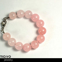 ROSE QUARTZ BRACELET - Large Round Natural Pink Beads